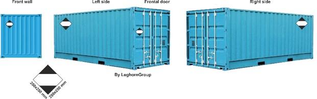 etichette merci pericolose container